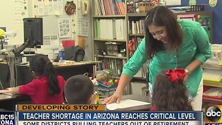 Arizona teacher shortage at critical level