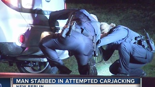 Man stabbed in attempted carjacking - Video