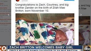 Orioles pitcher Zach Britton welcomes baby daughter - Video