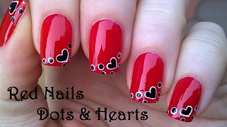 Red Heart Nail Art Using Dotting Tool - Video