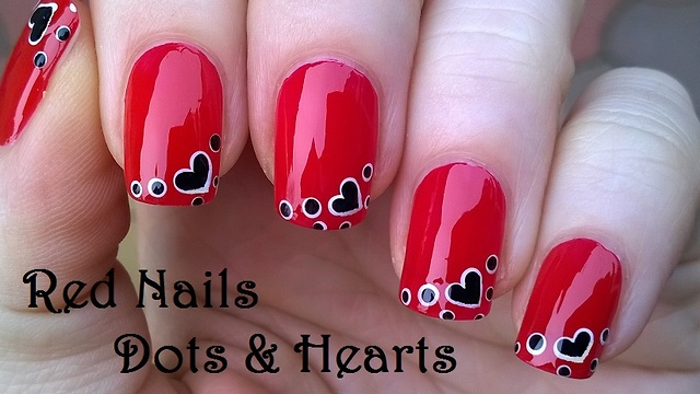 Red heart nail art using dotting tool prinsesfo Gallery