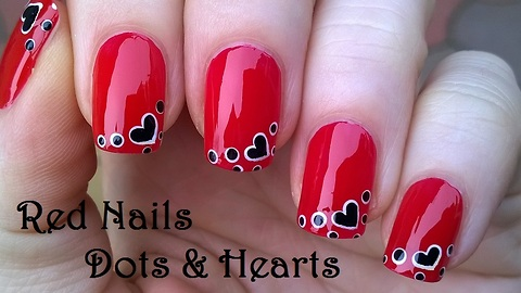 Red Heart Nail Art Using Dotting Tool