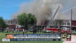 3-alarm fire displaces 23 people in Curtis Bay - Video