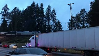 Amtrak Train Derails Off Bridge Onto Interstate 5 in Washington - Video