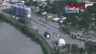 Flooding aerials; Chopper4 over Burlington,  WI - Video