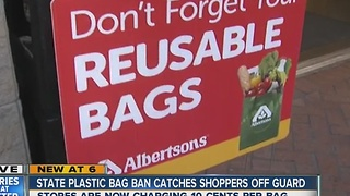 Plastic bag ban causes confusion for shoppers - Video