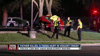 Father killed, 5 teens hurt in violent crash - Video