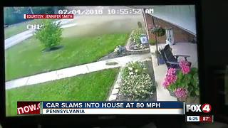 Car crashes into home at 80 mph - Video