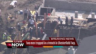 Two men trapped in a trench in Chesterfield Township - Video