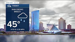 Rain begins to clear, cloudy rest of the day in the low to mid 40s