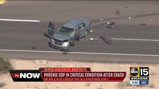 Phoenix officer in critical condition after crash - Video