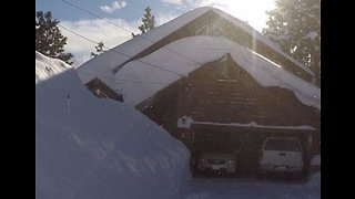 Walls of Snow Border Truckee Home Following Heavy Snowfall