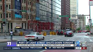 Crane removable will close portion of Light St. in Baltimore - Video