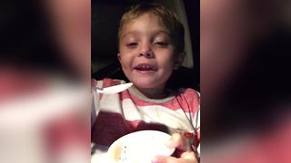 "Funny Kid Sings ""ABC's"" While Eating Ice Cream - Video"