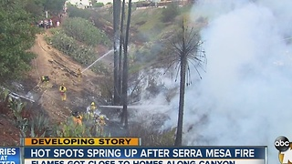 Hot spots spring up after Serra Mesa fire - Video