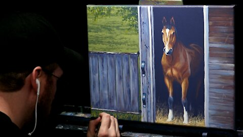 Acrylic Painting of a Horse in Barn - Time Lapse - Artist Timothy Stanford