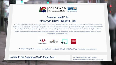 Governor Polis sets up state relief fund to help community-based groups amid COVID-19