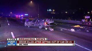 Driver killed after getting out of car on Interstate 5 - Video