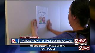 Families finding resources during teacher walkout - Video