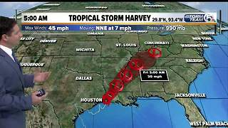Tropical Storm Harvey makes landfall in Louisiana - Video