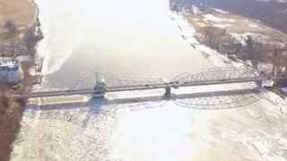 Drone Video Shows Connecticut River Ice Jam in East Haddam - Video
