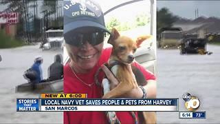 Local Navy vet saves people, pets from Hurricane Harvey - Video