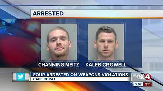 Four people arrested on weapons charges
