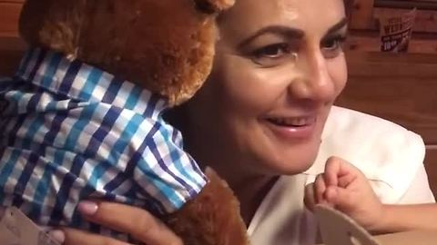 Mom Breaks Down After Daughter Gives Her A Teddy Bear With Late Husband's Laugh Built-In