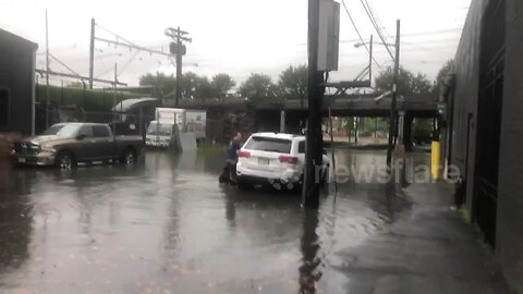 Cars abandoned in floodwater on New Jersey road after tornado rattles area