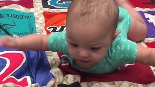 Little Baby Boy Is Doing Tummy Time Like Superman - Video