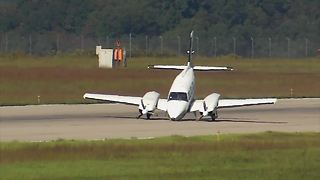 Airplane Suffers Front Wheel Malfunction, Crash Lands On Propellers - Video