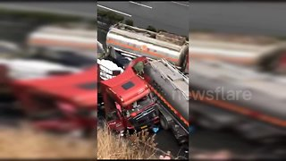 Massive pile-up after truck loses control on slippery Chinese motorway
