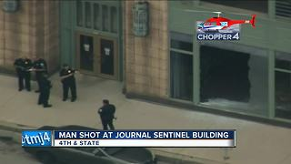 Window washer shot, wounded outside Milwaukee Journal Sentinel building - Video