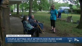 Couple getting help after flood ruins home