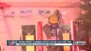 Homeowner stunned after house catches fire - Video