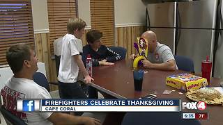 Cape Coral firefighters celebrate Thanksgiving at work - Video