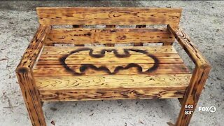 A handmade bench has gone missing from the gravesite of fallen FWC officer Julian Keen