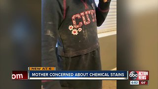 Local mom concerned after she says toddler came home with chemical stains on clothes