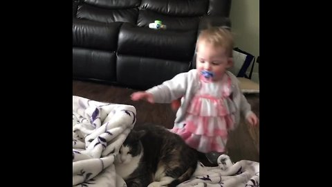 Baby Girl Preciously Plays With Kitty Best Friend