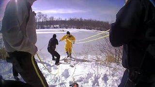 Ice fisherman rescued after falling through ice in Medina County Park