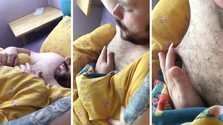 Mum pranks sleeping partner during newborn's night-time feed by gluing his finger to his nipple - Video