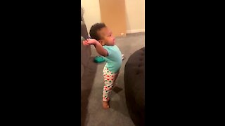 Baby jumps up to dance to favorite tune