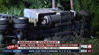 Tractor trailer and FedEx truck driver walk away uninjured in overnight crash along I-75 - Video