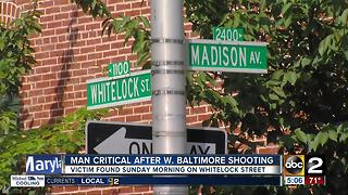 Man critical after shooting on Whitelock Street in W. Baltimore