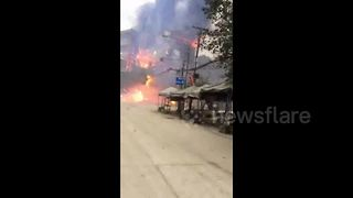 Fireworks explosion burns down residential building in China - Video