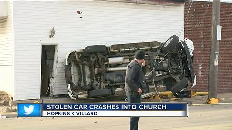 Stolen SUV clips a family of 6 and flips over into a church on north side