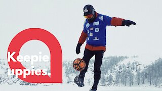 Freestyle footballer travels 50 miles across Siberian lake while doing keepie uppies