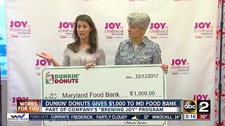 Dunkin' Donuts donates $1,000 to Maryland Food Bank - Video
