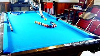 Teen shows his incredible pool trick shots  - Video