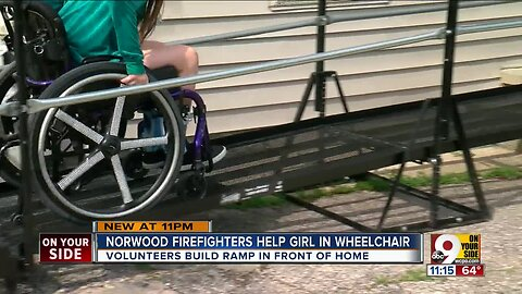 Norwood firefighters volunteer to build wheelchair ramp for 11-year-old girl
